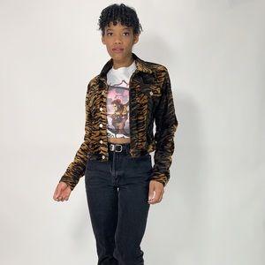 Y2K Vintage Fuzzy Button Down Tiger Print Jacket